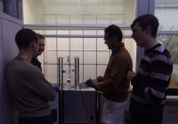 Alex, Alex, Pavel, Yevhen are setting up the photochemical reactor