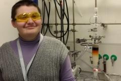Happy Tetiana in the lab!