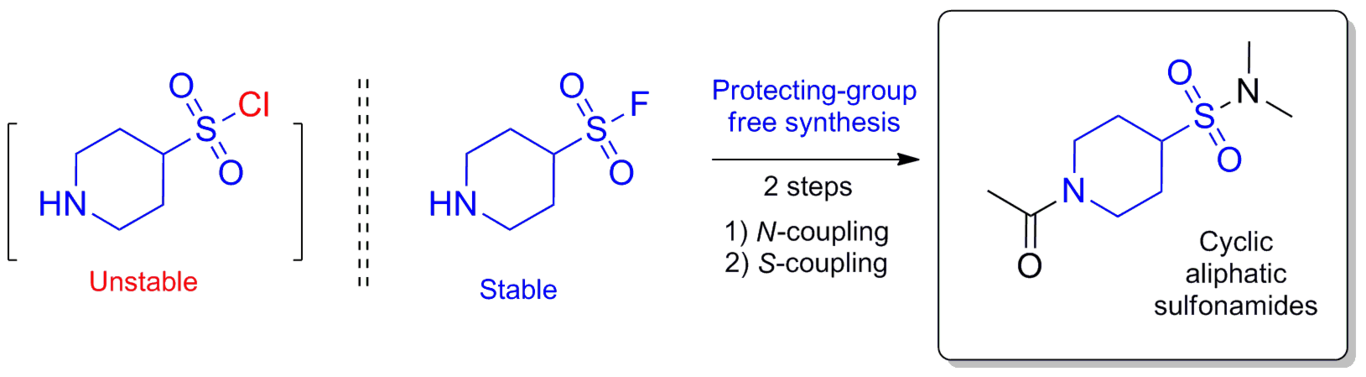Saturated heterocyclic aminosulfonyl fluorides ‐ novel scaffolds for protecting‐group free synthesis of sulfonamides